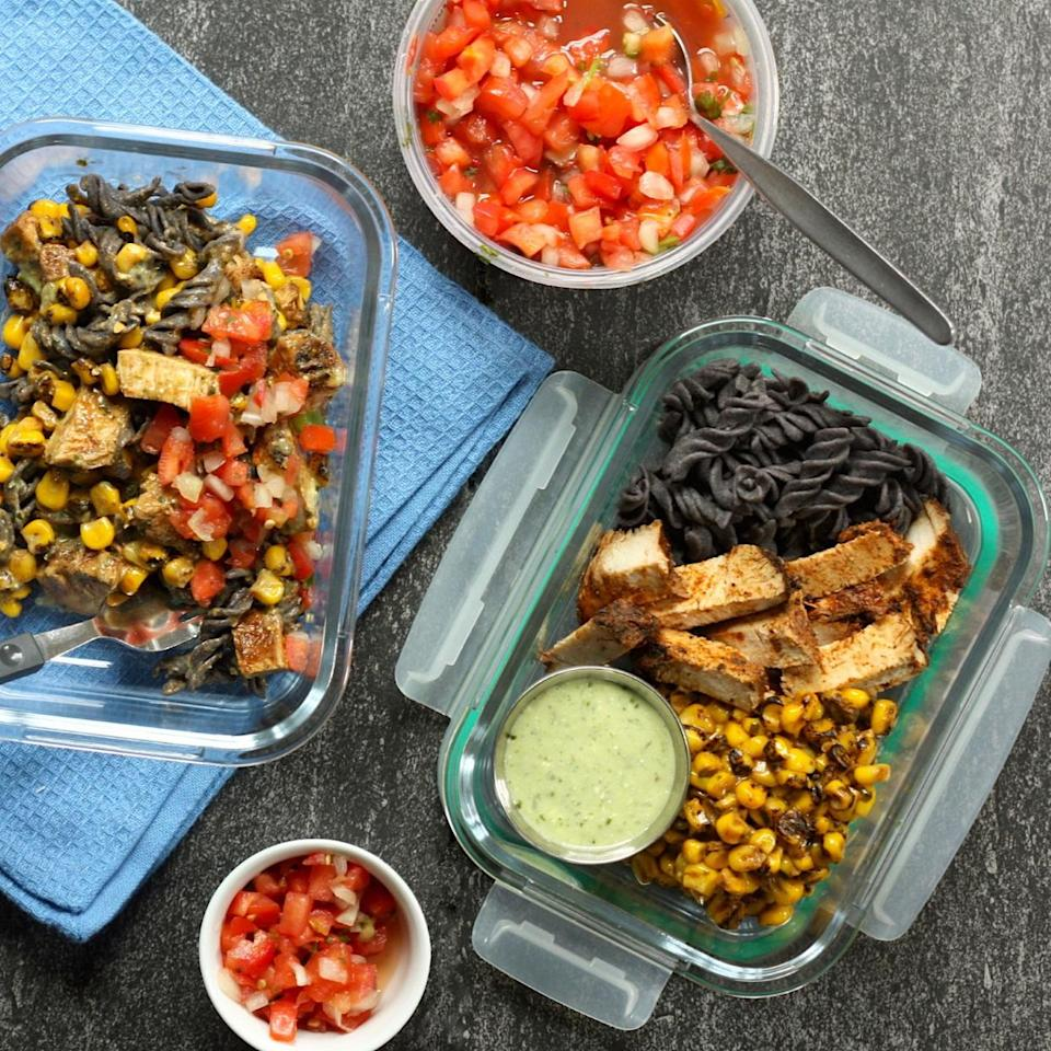 <p>Meal-prep a week's worth of delicious and satisfying high-fiber lunches with just 5 simple ingredients and 20 minutes. In this Southwestern-style pasta salad, we're using pasta made with black beans to bump up the fiber to an impressive 14 grams per serving. Paired with seasoned chicken strips and a flavorful corn salad--shortcut ingredients you can often find at your local specialty grocery store--this meal-prep lunch is one you'll get excited for.</p>
