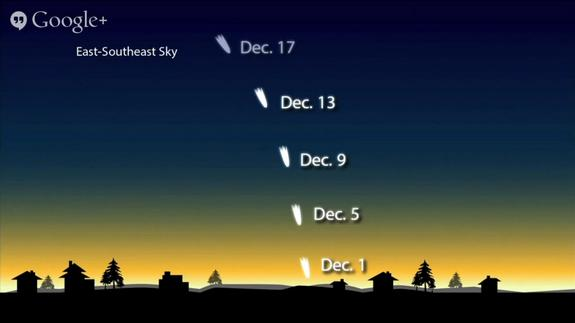 This NASA graphic shows the possible location of Comet ISON in the December night sky if the comet has survived its close sun encounter enough to be visible to the naked eye.