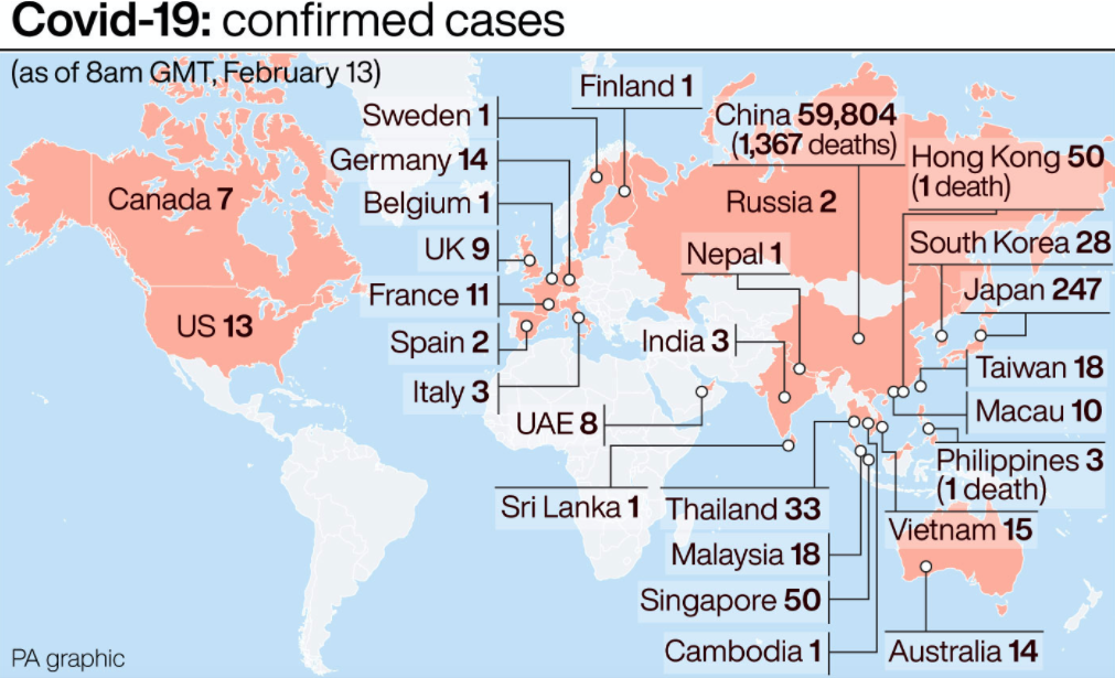 Confirmed cases of coronavirus around the world. (PA)