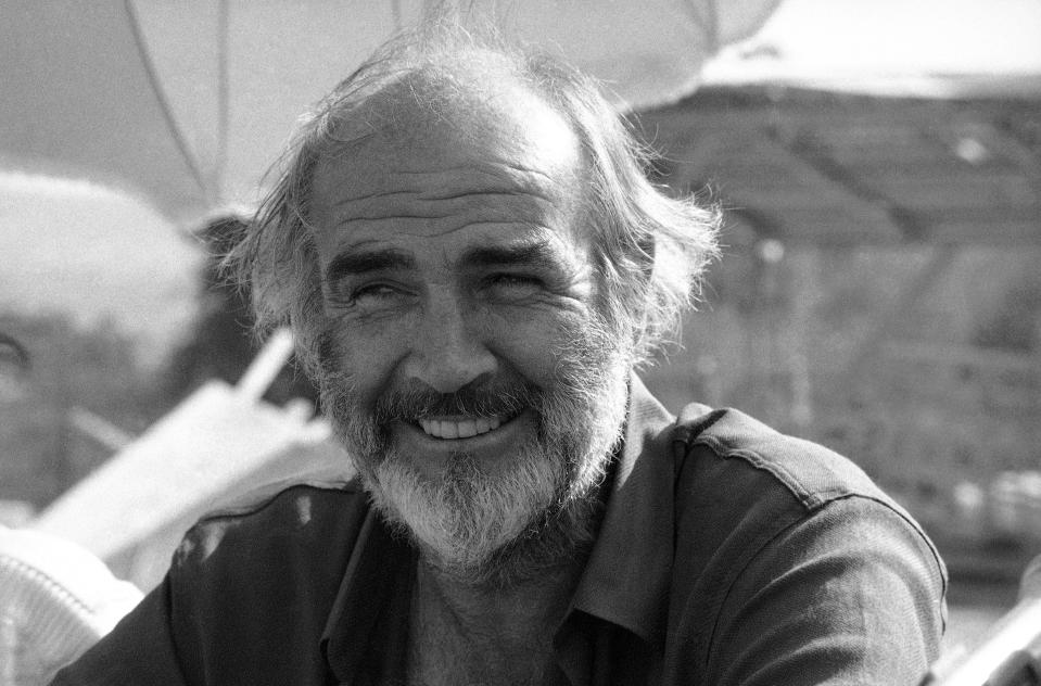"FILE - This Oct. 16, 1985 file photo shows actor Sean Connery on the set of ""The Name of the Rose"" in Rome, Italy. Scottish actor Sean Connery, considered by many to have been the best James Bond, has died aged 90, according to an announcement from his family. (AP Photo, File)"