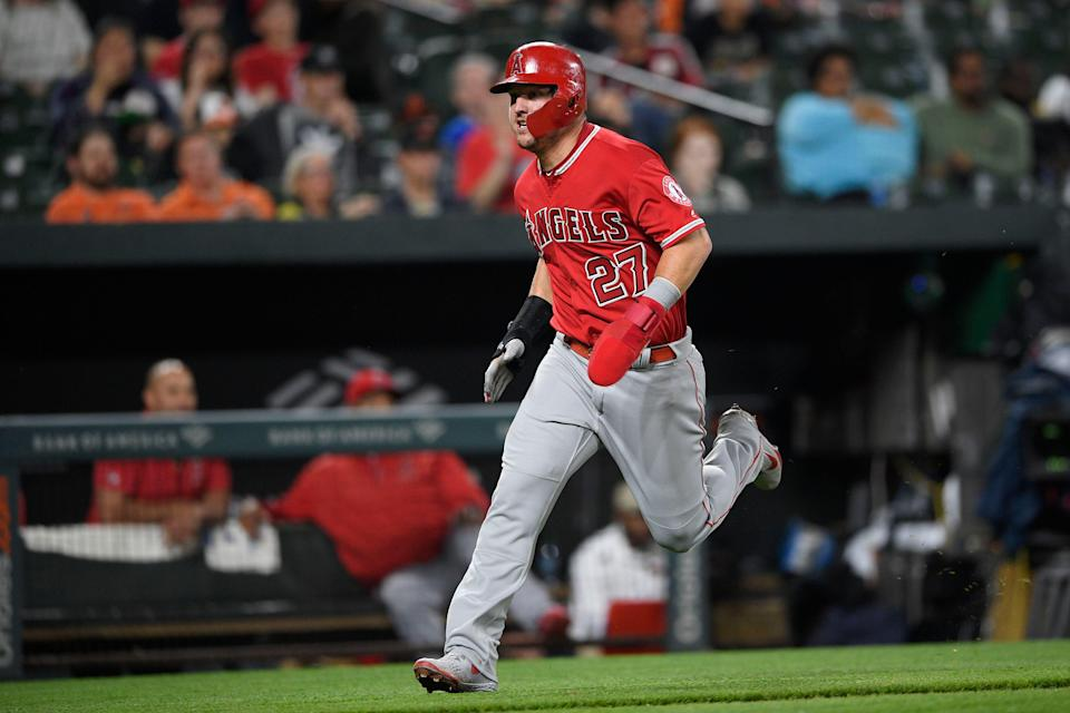 Los Angeles Angels' slugger Mike Trout honored seven-year-old superfan's request for a home run Friday night in Baltimore. (AP Photo/Nick Wass)