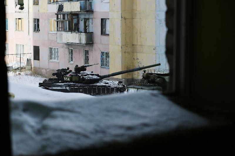 A tank is seen in the Ukrainian town of Avdiivka, on February 1, 2017