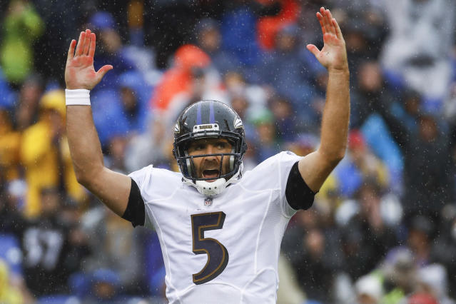 FILE - In this Sunday, Sept. 9, 2018, file photo, Baltimore Ravens quarterback Joe Flacco (5) celebrates his touchdown pass to wide receiver John Brown during the first half of an NFL football game against the Buffalo Bills, in Baltimore. Against the Bills, Flacco went 25 of 34 for 236 yards and three TDs. In Week 2, Flacco and the Ravens take on the Cincinnati Bengals. (AP Photo/Patrick Semansky, File)