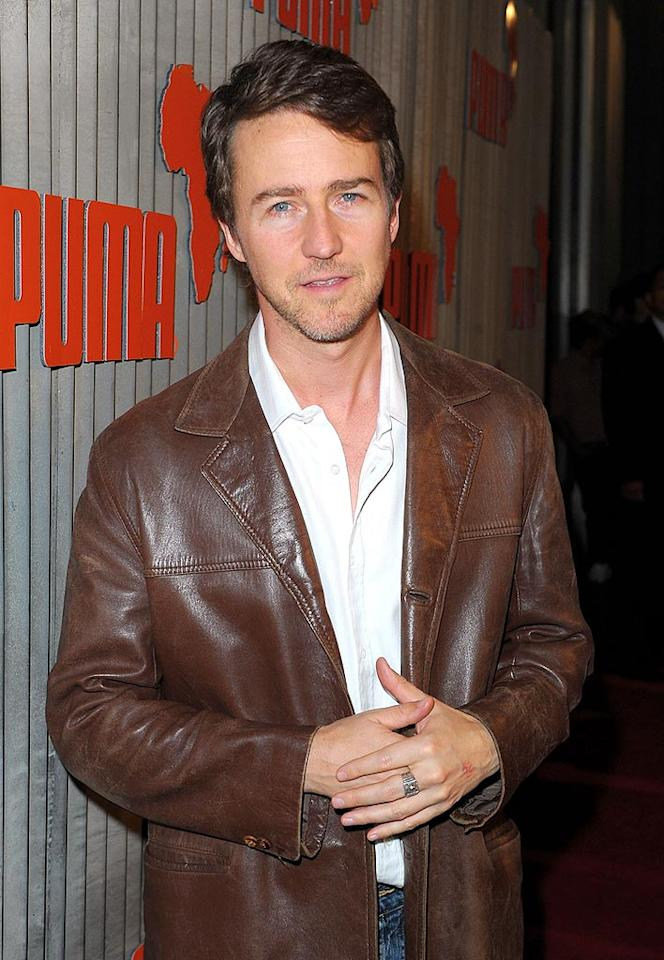 """Another big name on the green scene? Edward Norton, who organized a team of runners for the New York City marathon last fall that raised more than $1.2 million for the Maasai Wilderness Conservation Trust in East Africa. Jason Merritt/<a href=""""http://www.gettyimages.com/"""" target=""""new"""">GettyImages.com</a> - November 11, 2009"""