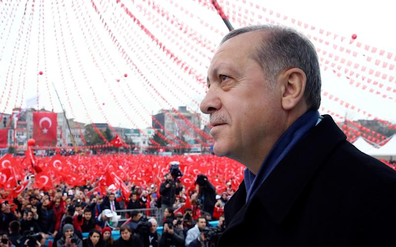 Turkey's President Recep Tayyip Erdogan addresses his supporters during a rally for the upcoming referendum in Istanbul. - Pool Presidential Press Service