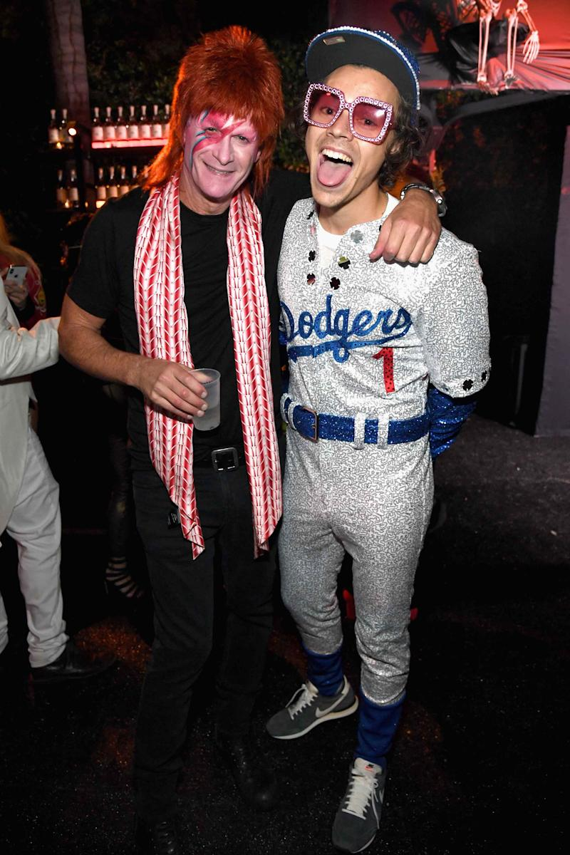 Dressed up as Elton-John-at-Dodger-Stadium-in-1975 at the Casamigos Halloween party in Beverly Hills.