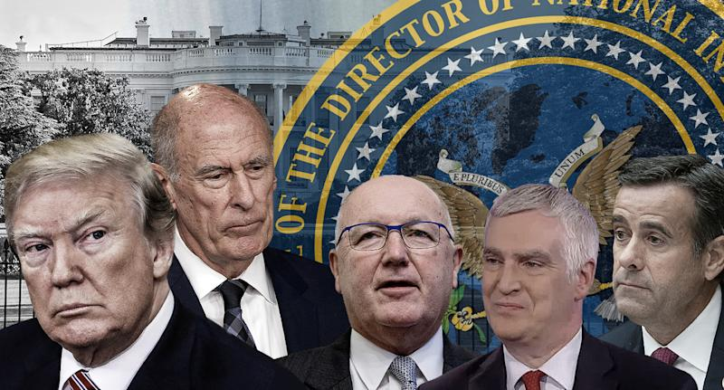 U.S. President Donald Trump, Director of National Intelligence, Dan Coats, Pete Hoekstra, Frederick Fleitz and John Ratcliffe. (Yahoo News photo Illustration; photos: AP, Getty)