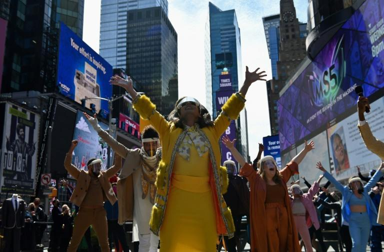 Performers participate in 'We Will Be Back', a live pop-up event and commemoration of Broadway's 'lost year'