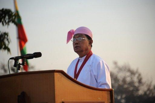 Myanmar's Vice President Tin Aung Myint Oo addresses officials during a ceremony in Naypyidaw on February 12. Several hardliners will leave Myanmar's top leadership in an imminent reshuffle as the reformist regime welcomed the parliamentary debut of Aung San Suu Kyi's opposition