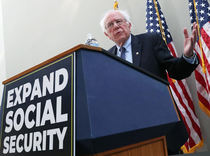 Sen. Bernie Sanders (I-Vt.) introduces a bill to expand Social Security on Capitol Hill in February.  (Photo: Mark Wilson/Getty Images)