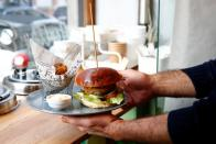 A vegetarian burger is pictured in a restaurant in Brussels
