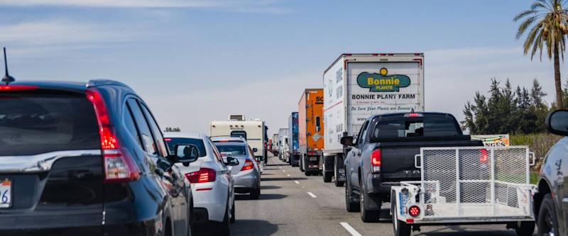 March 19, 2018 Lebec / CA / USA - Heavy traffic on I-5 interstate, south California