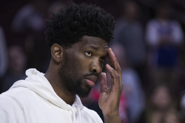 Joel Embiid and 76ers fans are frustrated while he misses playoff action, but the team is doing the right thing by prioritizing his long-term health over short-term goals. (AP)