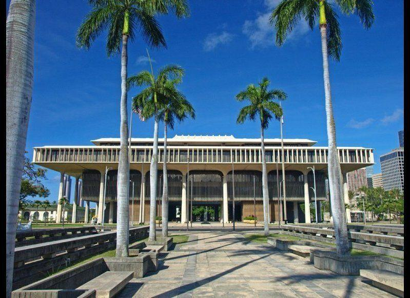 <strong>HAWAI'I STATE CAPITOL</strong> Honolulu, Hawaii <strong>Year completed:</strong> 1969 <strong>Architectural style:</strong> Hawaiian International <strong>FYI:</strong> The eight columns in the front and back of the building are supposed to represent the eight islands of Hawaii, and the curved walls of the legislative houses recall the state's volcanoes. <strong>Visit:</strong> Scope out the capital on your own on weekdays from 9 a.m. to 2 p.m. (except for holidays), or arrange a guided tour through the Governor's Office of Constituent Services.