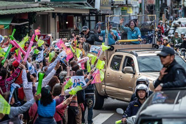 PHOTO: Taiwan's current president and Democratic Progressive Party presidential candidate, Tsai Ing-wen, waves from a car during a campaign event ahead of the presidential election on Jan. 10, 2020 in Taipei, Taiwan. (Carl Court/Getty Images, FILE)