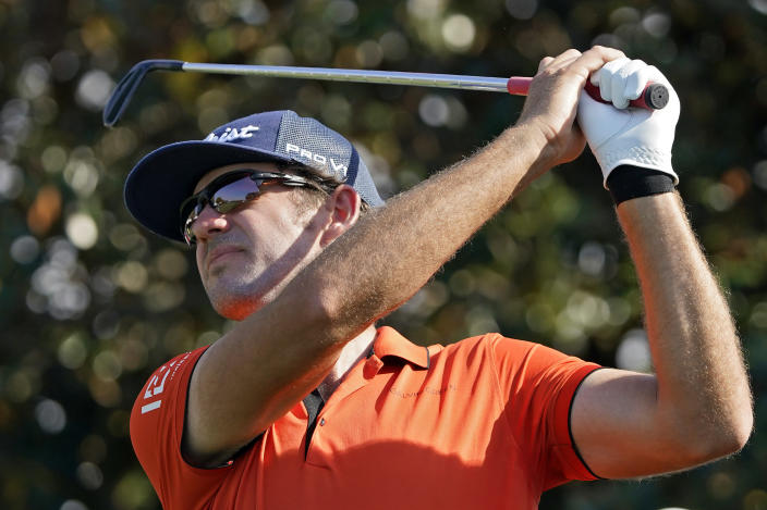 Lanto Griffin tees off on the second hole during the second round of the Arnold Palmer Invitational golf tournament Friday, March 5, 2021, in Orlando, Fla. (AP Photo/John Raoux)