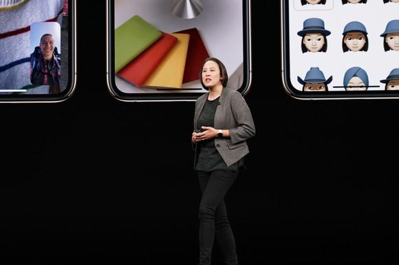 Apple executive Kaiann Drance on stage during Apple's Sept. 12 product launch event.