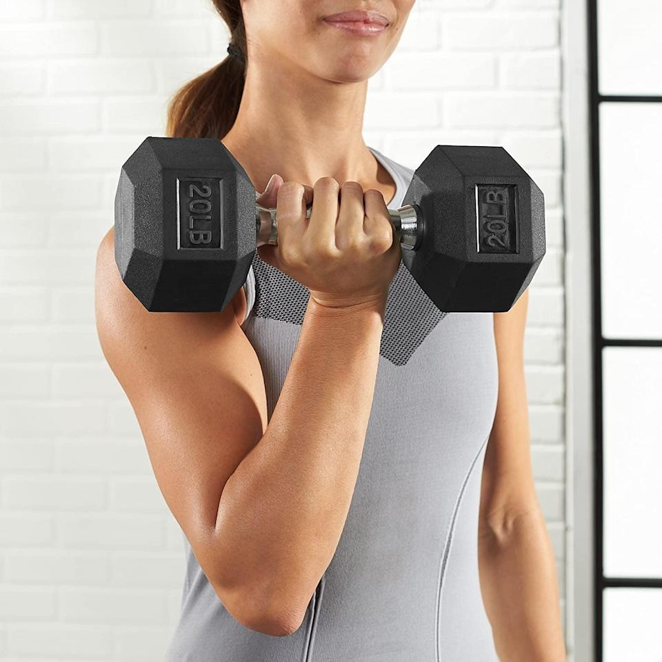<p>With textured grips, this <span>Amazon Basics Rubber Encased Hex Dumbbell Hand Weight</span> ($17-$73) is perfect for heavy lifting. It comes in a variety of weights ranging from 10-pounds to 50-pounds. </p>