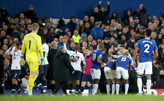Players were visibly distressed as Gomes was treated on the ground. (Photo by Nick Potts/PA Images via Getty Images)