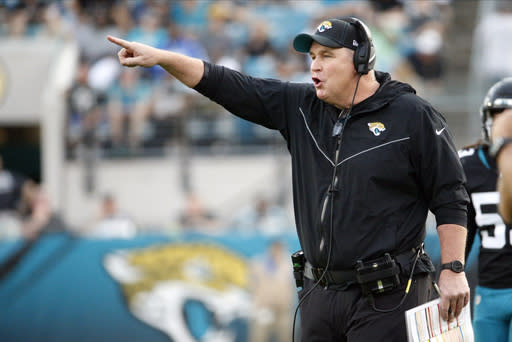 FILE - In this Sunday, Dec. 29, 2019 file photo, Jacksonville Jaguars head coach Doug Marrone directs his players against the Indianapolis Colts during the first half of an NFL football game in Jacksonville, Fla. The Jacksonville Jaguars have a chance to surprise, possibly even shock, much of the NFL. Just not themselves. After dumping three potential starters last week and assembling one of the youngest rosters in the league, the Jaguars are mostly a league-wide afterthought.(AP Photo/Stephen B. Morton)