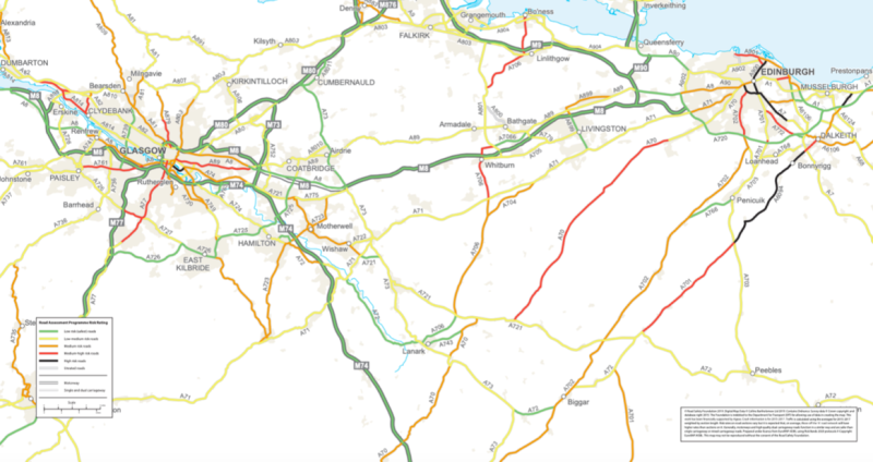 Some of Scotland's high-risk roads are highlighted on this map (Road Safety Foundation)