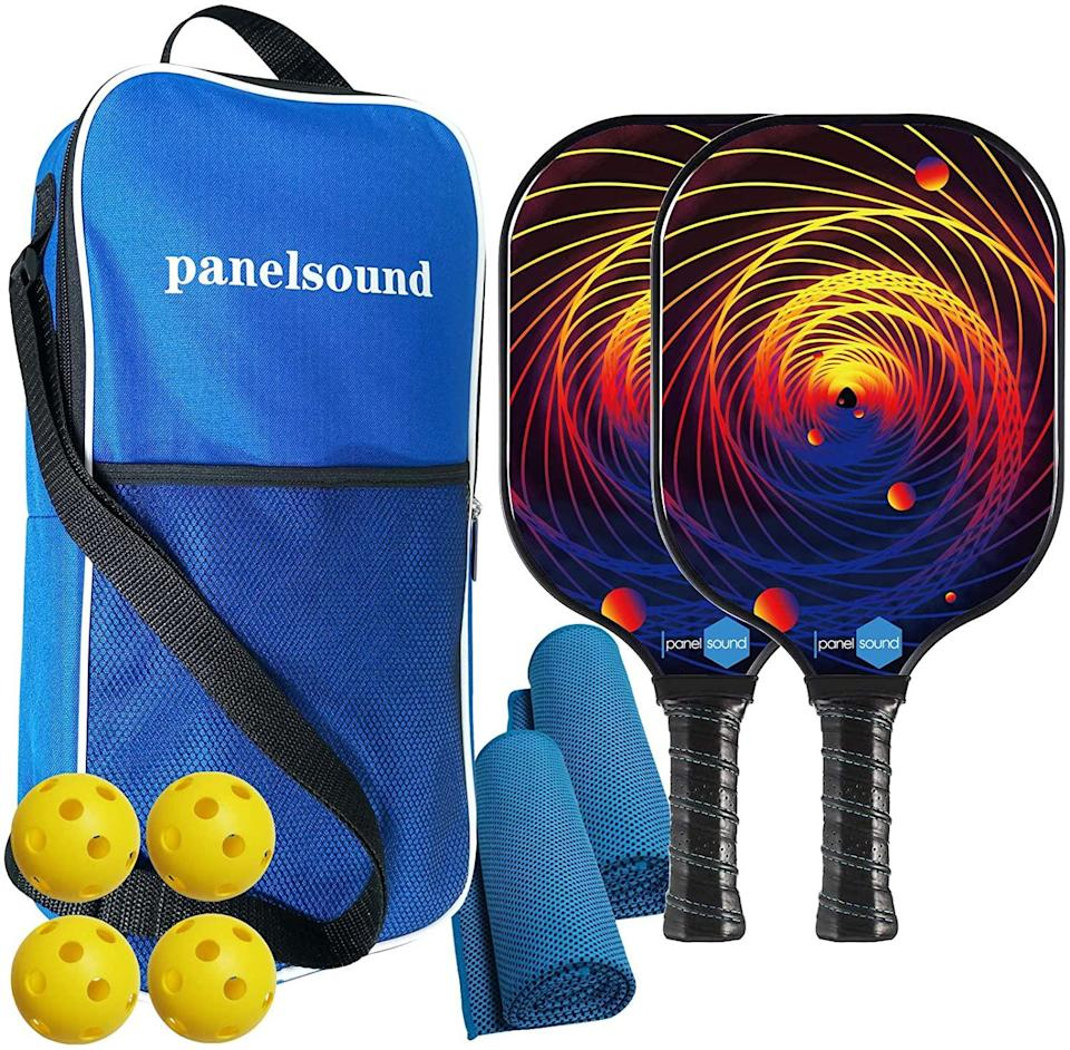 Panel Sound USAPA Approved Pickleball Paddle Lightweight Pickleball Paddles Set of 2,Pickleball Rackets Set, 1 Carrying Case, 2 Cooling Towels & 4 Indoor Balls