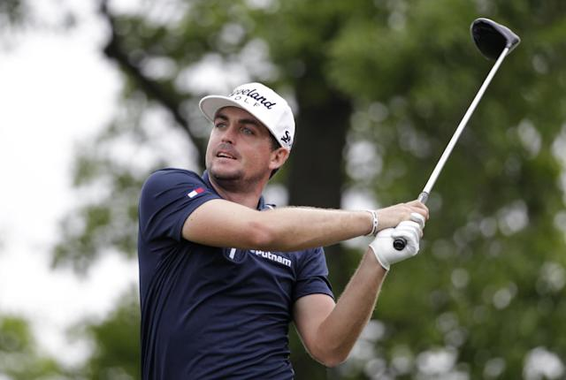 Keegan Bradley tees off on hole four during the first round of the Houston Open golf tournament, Thursday, April 3, 2014, in Humble Texas. (AP Photo/Patric Schneider)