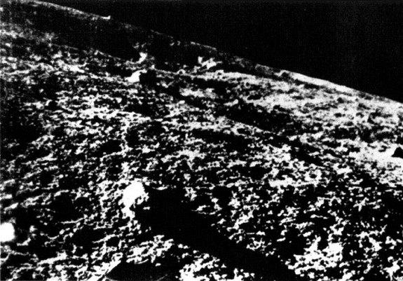 This close-up image of the lunar surface was relayed on Feb. 3, 1966 from the former Soviet Union's Luna 9 lander in the Oceanus Procellarum. This is the first image from the surface of the moon.