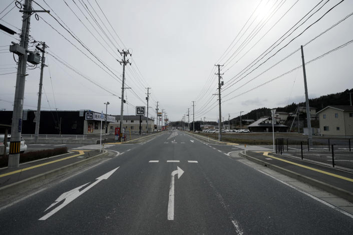 Nearly 10 years after the 2011 tsunami disaster, recovered streets are seen in Kesennuma, Miyagi Prefecture, northeastern Japan Friday, March 5, 2021. (AP Photo/Eugene Hoshiko)