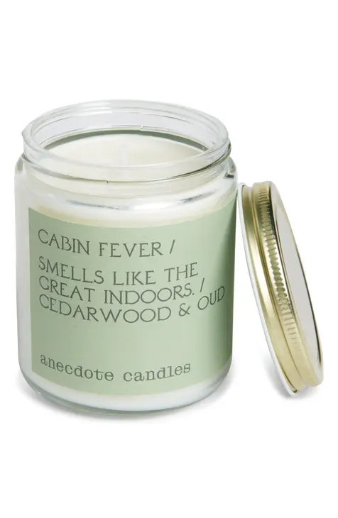 """<h3>Anecdote Candles Cabin Fever Candle</h3><br>If a cabin on the beach is more of your winter vibe, this candle made from a coconut-soy wax blend is a woodsy-fragrance layered with notes of sea salt and ocean moss.<br><br><strong>ANECDOTE CANDLES</strong> Cabin Fever Candle, $, available at <a href=""""https://go.skimresources.com/?id=30283X879131&url=https%3A%2F%2Ffave.co%2F3n3SSSr"""" rel=""""nofollow noopener"""" target=""""_blank"""" data-ylk=""""slk:Nordstrom"""" class=""""link rapid-noclick-resp"""">Nordstrom</a>"""