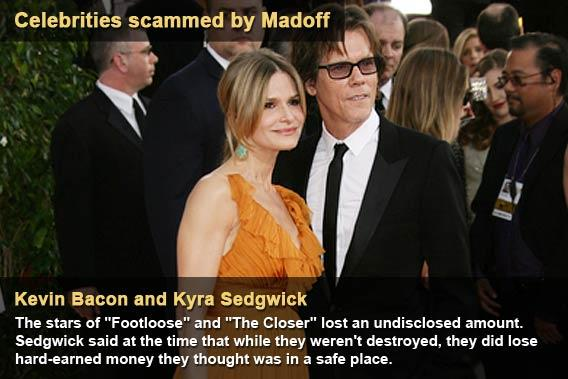 Celebrities scammed by Madoff - Kevin Bacon and Kyra Sedgwick