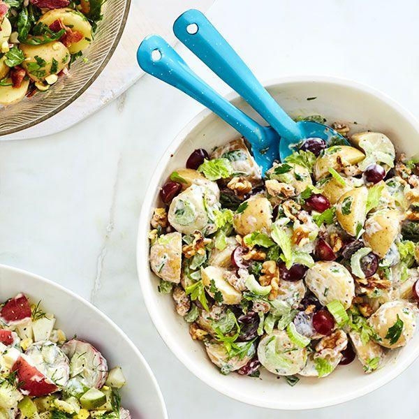 """<p>Walnuts and red grapes add a little crunch and sweetness to your plain potato salad. </p><p><em><a href=""""https://www.goodhousekeeping.com/food-recipes/a14805/waldorf-style-potato-salad-recipe-wdy0614/"""" rel=""""nofollow noopener"""" target=""""_blank"""" data-ylk=""""slk:Get the recipe for Waldorf-Style Potato Salad »"""" class=""""link rapid-noclick-resp"""">Get the recipe for Waldorf-Style Potato Salad »</a></em></p>"""