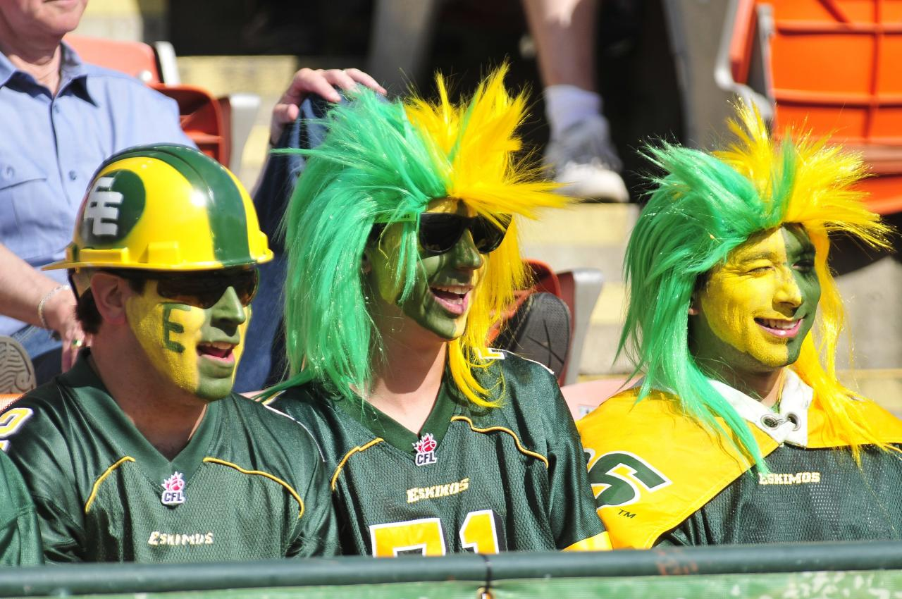 Eskimos fans take in the action during the 1st quarter of CFL game action between the Edmonton Eskimo's and the Toronto Argonauts at Commonwealth stadium in Edmonton June 30/2012 (CFL PHOTO / Walter Tychnowicz)
