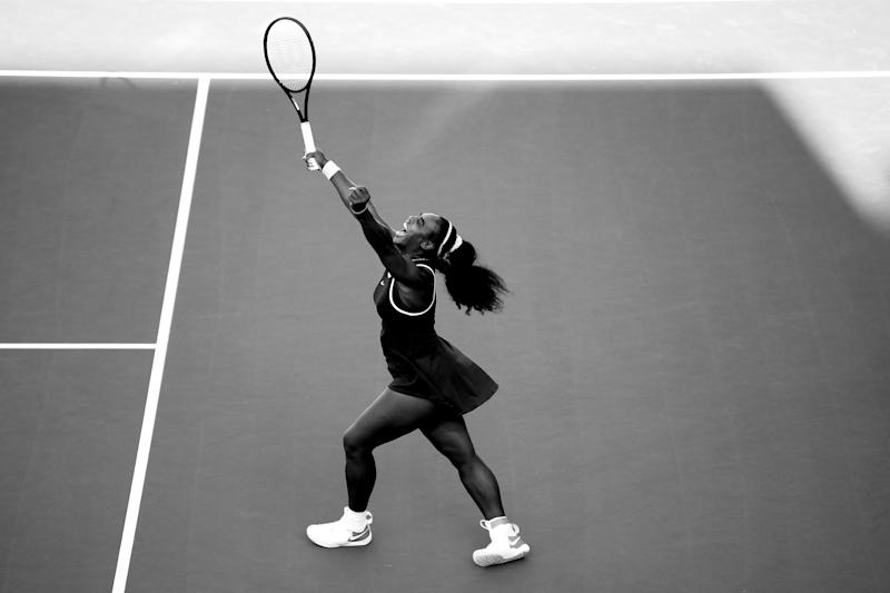Serena Williams of USA celebrates after winning the final match against Jessica Pegula of USA at ASB Tennis Centre on January 12, 2020 in Auckland, New Zealand.