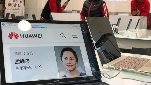 PHOTO: A profile of Huawei's chief financial officer Meng Wanzhou is displayed on a Huawei computer at a Huawei store in Beijing, China, Thursday, Dec. 6, 2018. (AP)