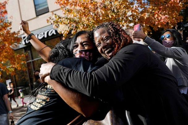 PHOTO: People celebrate Saturday, Nov. 7, 2020, in Philadelphia, after the presidential election was called for Joe Biden. (Rebecca Blackwell/AP)
