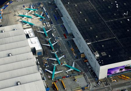 An aerial photo shows Boeing 737 MAX airplanes parked on the tarmac at the Boeing Factory in Renton, Washington, U.S. March 21, 2019.  REUTERS/Lindsey Wasson/Files