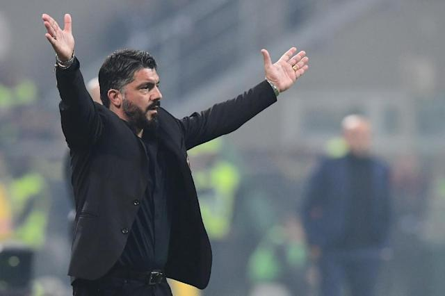Head coach Gennaro Gattuso won the Champions League twice as a player with AC Milan (AFP Photo/Miguel MEDINA)