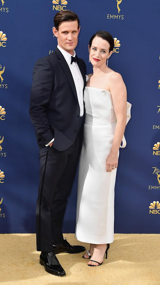 <p>Claire wears a dress by Calvin Klein. <em>[Photo: Getty]</em> </p>