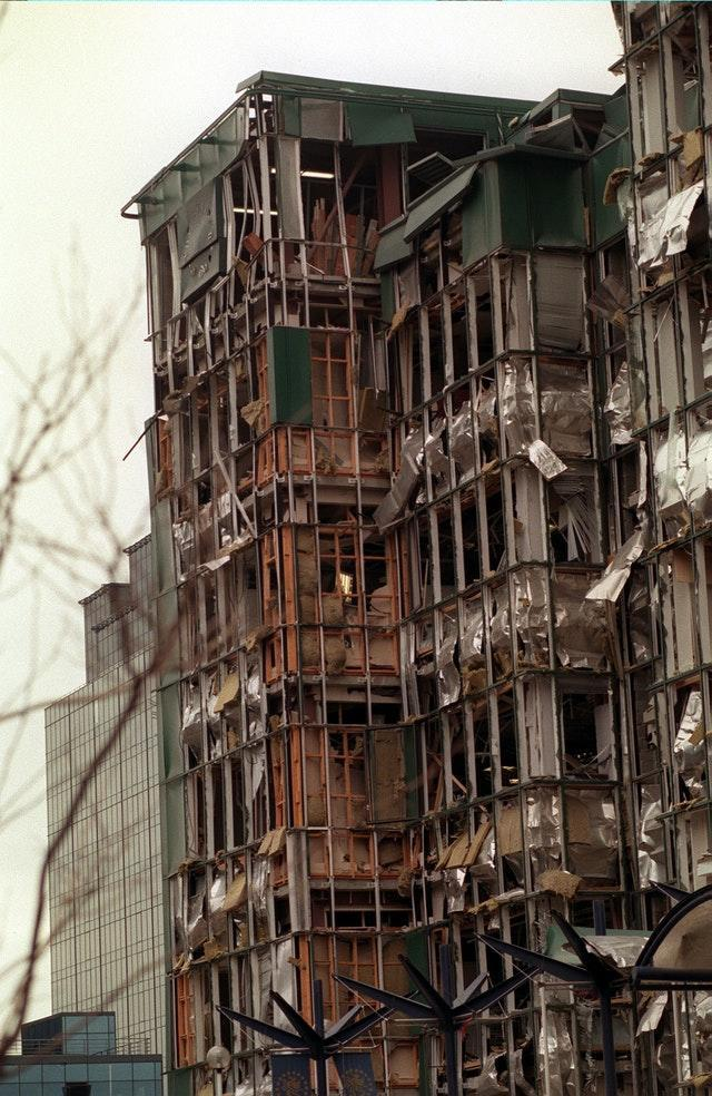 IRA BOMB DAMAGE IN SOUTH QUAY