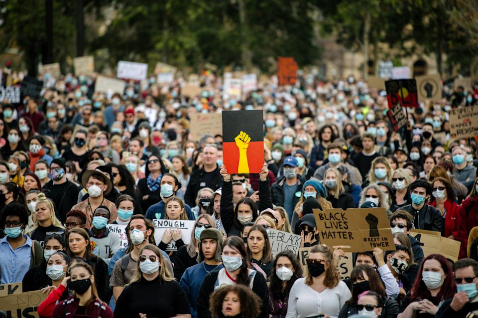 Protesters participate in a Black Lives Matter rally in Adelaide on Saturday. Source: AAP