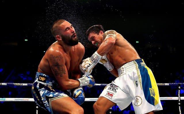 Usyk, right, stopped Tony Bellew when they fought in November 2018 (Nick Potts/PA)
