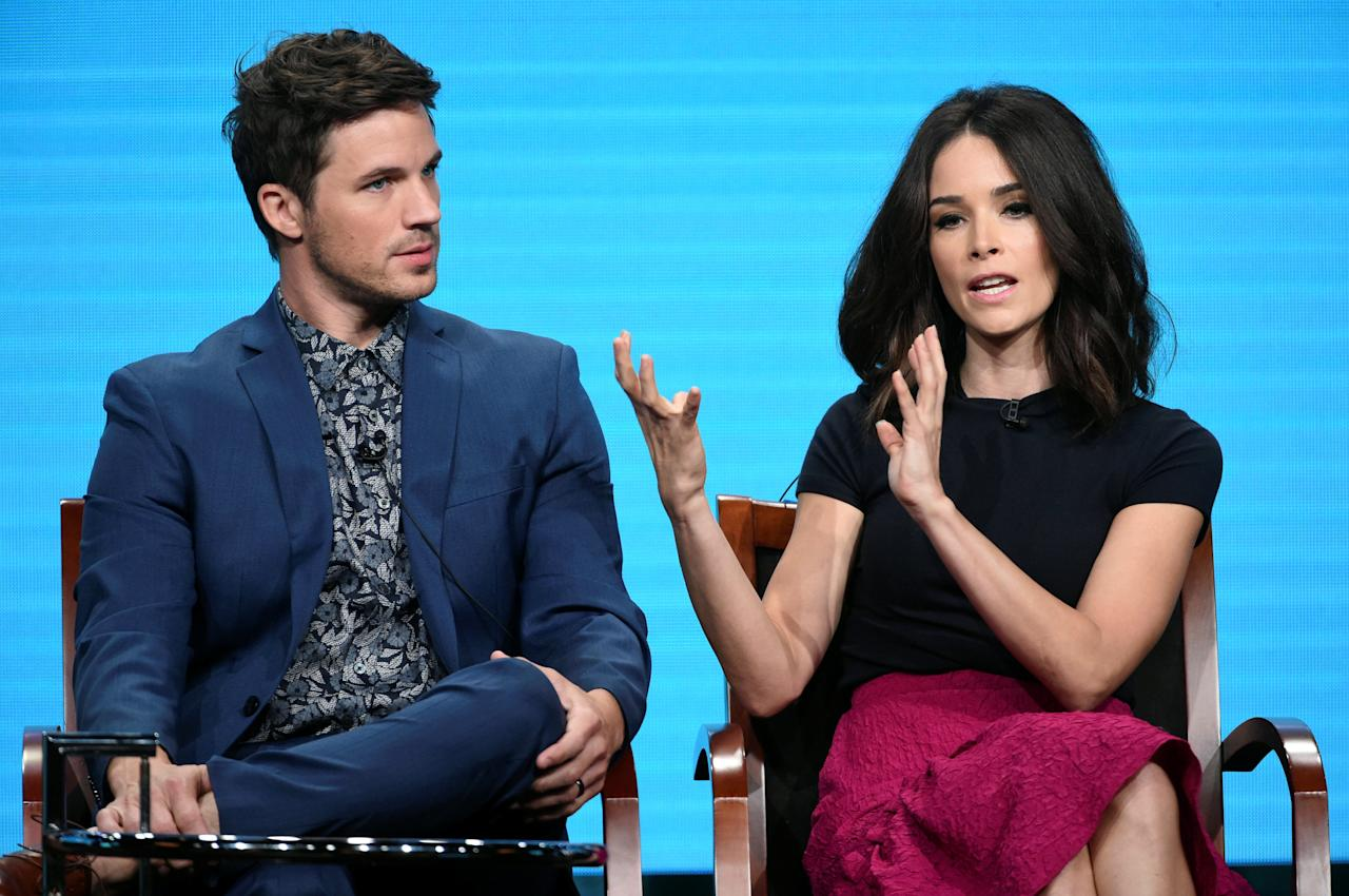"""Cast members Matt Lanter (L) and Abigail Spencer (R) answer questions during the panel for """"Timeless"""" at the NBC Universal Television Critics Association press tour in Beverly Hills, California, U.S. August 2, 2016.  REUTERS/Phil McCarten"""