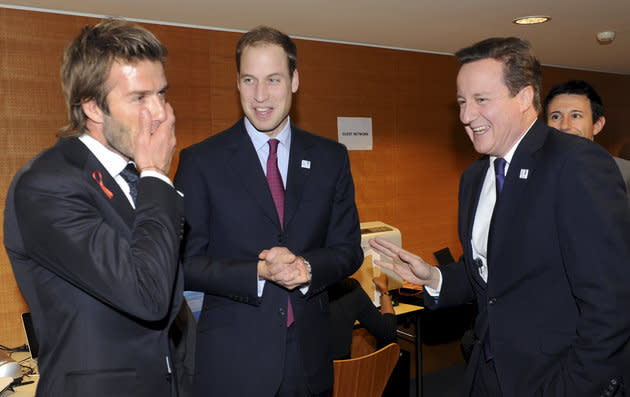 Prince William with David Beckham and then Prime Minister David Cameron during England's 2018 World Cup bid in 2010.