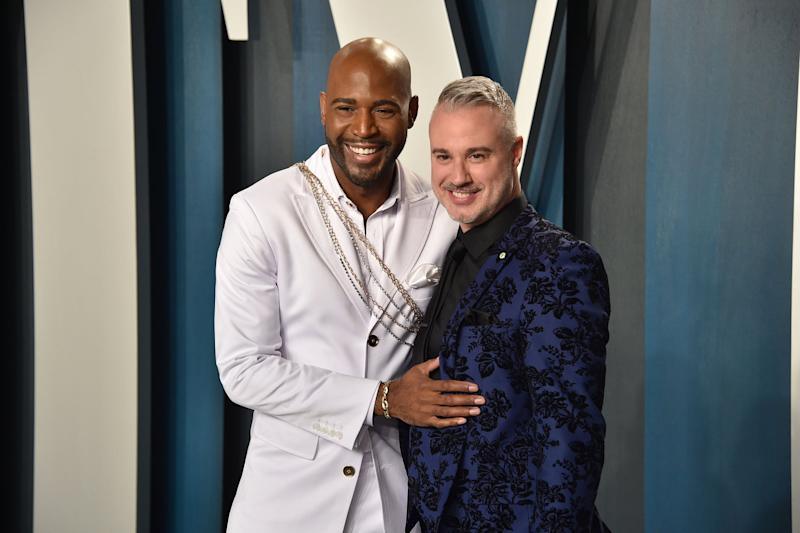 BEVERLY HILLS, CALIFORNIA - FEBRUARY 09: Karamo Brown and Ian Jordan attend the 2020 Vanity Fair Oscar Party at Wallis Annenberg Center for the Performing Arts on February 09, 2020 in Beverly Hills, California. (Photo by David Crotty/Patrick McMullan via Getty Images)