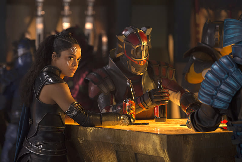 <p>Valkyrie (Thompson) enjoys a drink in what appears to be the same trippy watering hole depicted in the earlier Loki image, which couldbe on the Grandmaster's hedonistic planet of operations, Sakaar. (Photo: Marvel) </p>