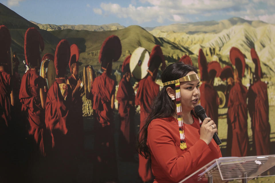Maatalii Okalik, president of the National Inuit Youth Council, speaks during a panel featuring Canadian Indigenous leaders discussing climate change, at the COP22 climate change conference n Marrakech, Morocco, Wednesday, Nov. 16, 2016. (AP Photo/Mosa'ab Elshamy)