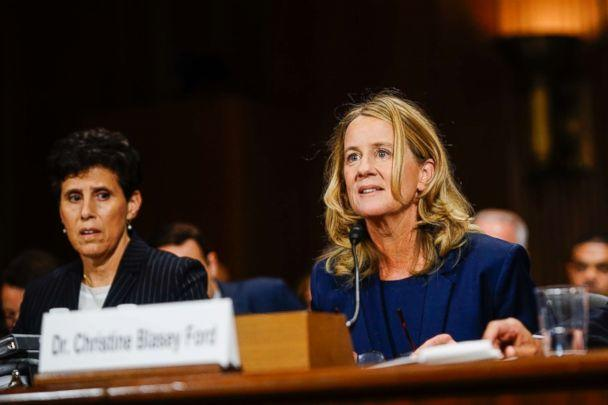PHOTO: Christine Blasey Ford, with lawyer Debra S. Katz, left, answers questions at a Senate Judiciary Committee hearing, Sept. 27, 2018, on Capitol Hill. (Melina Mara-Pool/Getty Images, FILE)