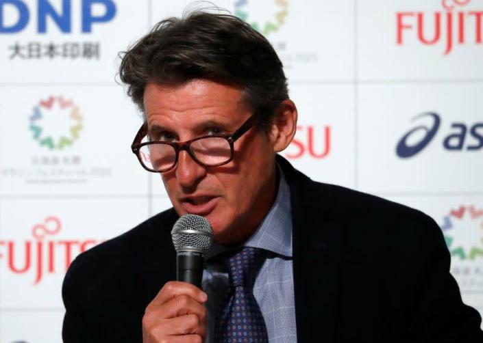 World Athletics President Coe attends a news conference after the Hokkaido-Sapporo Marathon Festival 2021
