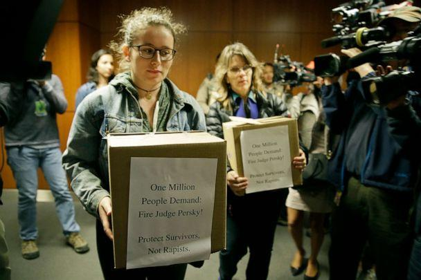 PHOTO: Activists from UltraViolet attempt to deliver over one million signatures to the California Commission on Judicial Performance calling for the removal of Judge Aaron Persky from the bench, June 10, 2016, in San Francisco. (Eric Risberg/AP)